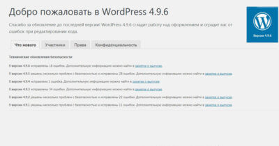 Что в обновлении WordPress 4.9.6 ?